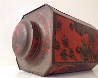 antique vintage chinese japanese oriental tin coffee flour tea kitchen country decor