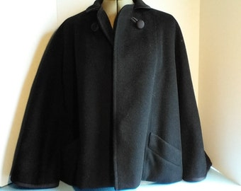 Blk Ben Gershel by R. Knox satin trim wool swing/ cape style coat