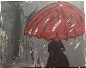 Red umbrella painting