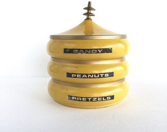 Mid Century Yellow Metal Stacking Candy Peanut and Pretzel Canister, Vintage 3-Tiered Stacking Snack Container