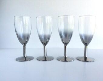 Vintage Silver Fade Port Glasses Set of 4, Vintage Reverse Silver Fade Ombre Port or Wine Glasses