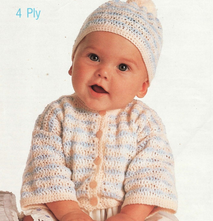 c2e1888dbdd8e4 Crochet Baby Cardigan Sweater and Hat Vintage Pattern toddler pullover top  cable retro clothes girl boy aran jumper pdf digital download from  OhhhBabyBaby ...