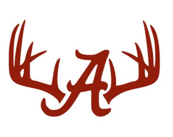 "Deer Antlers/Rack Alabama ""A"". Crimson Tide. Roll Tide. Football Decal/Sticker"