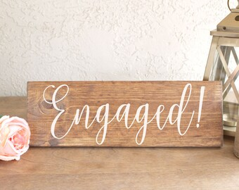 Engaged Sign - Engagement Photos Sign - Save the Date Sign - Engagement Sign - Engaged Wood Sign - Engagement Photos Prop -Wood Sign