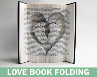 Book Folding Pattern Heart and Baby Feet: Book Folding Tutorial, Cut and Fold, Free printable downloads to personalise your book art