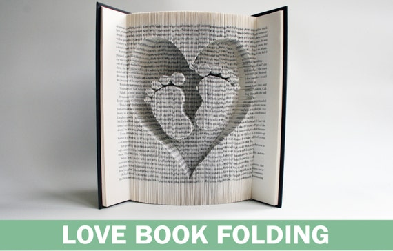 Book Folding Pattern Heart And Baby Feet Book Folding