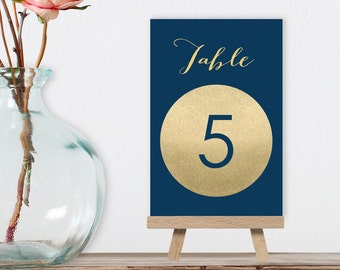 Wedding Table Numbers DIY / Gold Sparkle / Metallic Gold and Navy / Gold and Navy / Guest Seating / 1 to 40 ▷ Instant Download