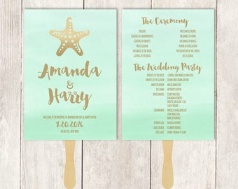 Beach Wedding Program DIY / Metallic Golden Mint Green Watercolor / Gold Starfish & Beach  ▷ Printable {or} Printed *** ASSEMBLY REQUIRED