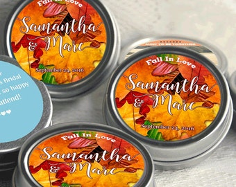 Personalized Autumn Silver Mint Tins - 12 Wedding Mint Tins  - Fall Wedding Favors - Fall Weddings - Rustic Weddings - Fall Wedding Decor