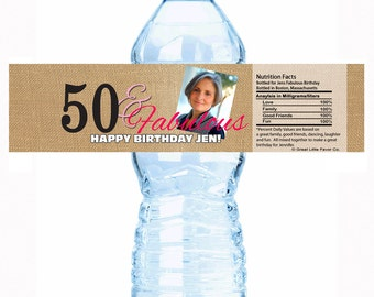 """50 and Fabulous Photo Birthday Water Bottle Labels - Select the quantity you need below in the """"Pricing & Quantity"""" option tab"""
