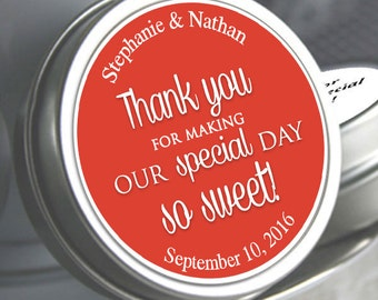 Wedding Decor - Wedding Favors - Wedding Mints - Personalized Wedding Mint Tins - Tin Mints - Thank you for making our special day so sweet