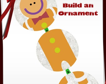 Build a Gingerbread Man Ornament Bottle Cap images -1 in circles - 600dpi, 4 Different sets on a Collage Sheet, Gift Tags, BottleCaps