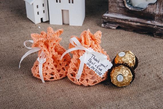 Coral wedding favor bag Boho wedding Peach sweet favor bags ...