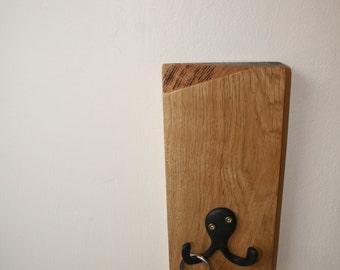 Wooden Key Holder / Wood Wall Hook / Coat Hook / Oak Wall Hanger / Reclaimed Wood / Double Hook / Dual Hanger / Decorative / Handmade