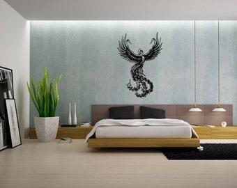 Wall Vinyl Sticker Decals Mural Room Design Firebird Wings Fly  mi049