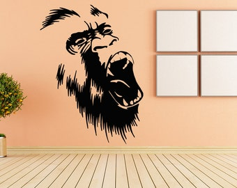 Wall Vinyl Sticker Decals Mural Room Design Decor Art Pattern Monkey face Zoo animal Wild mi907
