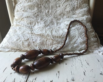 Beautiful, wooden boho bead necklace.