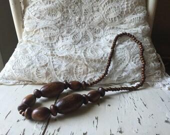 Beautiful, wooden boho bead necklace.