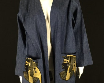 Denim Egyptian Jacket Cape Size: L