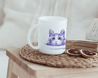 Original gift > purple Mug Cat - Watercolor of blue kitten printed on a coffee cup purple mauve light blue pink Parma cute feline kitty