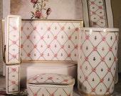 1980s OTAGIRI Porcelain Ladies Secretary Stationary Desk Set – 5 Piece Set