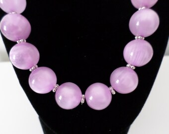 Lavender Large Bead Necklace