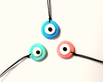 Polymer clay evil eye long necklace - Long evil eye necklace - Evil eye necklace