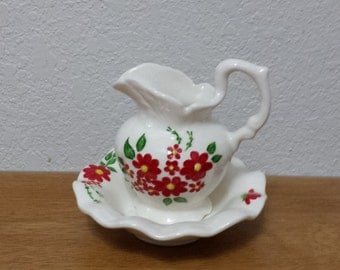 Ceramic Small Hand Painted Pitcher and Bowl (#351)-Red flowers with Turquoise butterfly
