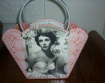 Retro style bag with vintage images of beautiful Elizabeth Taylor
