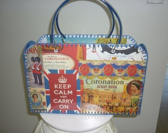 Retro style bag with blanket stitch edge and vintage Britain images.