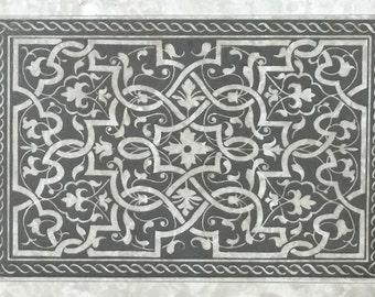 Decorative etched marble 8x12, 12x18 mural for kitchen backsplash tile
