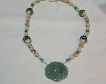 Hand made one of a kind Necklace  W/JADE