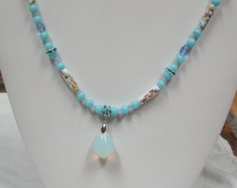 Hand made one of a kind beaded  Necklace Vintage Porcelain