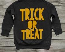 Boy toddler boy clothes. Toddler boy Halloween costume. Toddler Halloween shirt. Kids boys costume. Kids sweater. Trick or Treat Crewneck