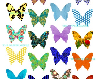 """Butterfly Digital Collage Sheet Digital Butterfly Collage Sheet Commercial Use 8.5""""x11"""" at 300 DPI"""