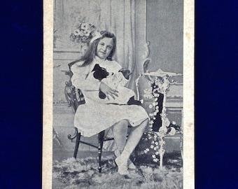 c.1901 Smooth Fox Terrier & Girl Antique Edwardian Photo Postcard