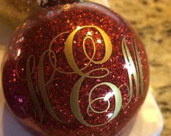 Glitter Ornament w Kk Script Decal