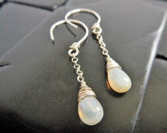 Genuine Welo Opal and Sterling Silver Dangle Earrings - Opal Earrings - Long Silver Earrings - October Birthstone - Opal Drop Earrings