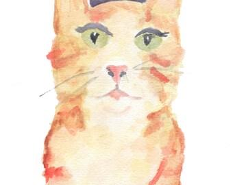 Nursery wall art. Cat art print. Whimsical cat art. Cat nursery print. Handmade watercolor. Kitty nursery print. 8 x 10