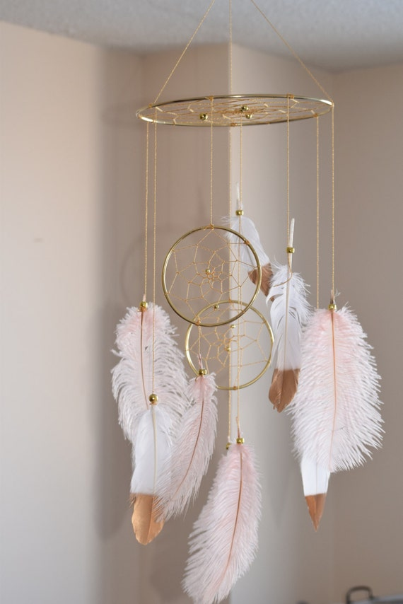 Boho Dream Catcher Mobile Baby Mobile Ostrich Feather