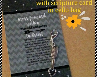 Zipper pull, Young Women's Theme 2016, Press forward with a steadfastness in Christ, LDS gift, scripture pull, keyring charm, arrow charm