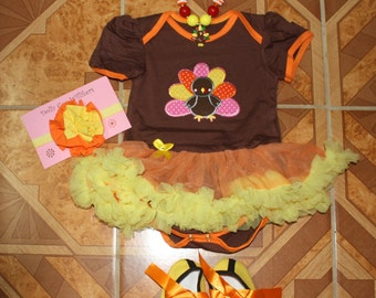 Boutique style baby girl Thanksgiving outfit, 4pcs/set, bodysuit w/tutu skirt, bow, shoes & necklace, turkey applique, Thanksgiving bodysuit