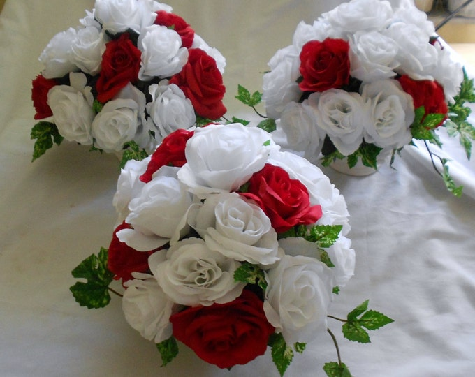 Wedding table centerpieces  arrangements set of 3 red and white . Could be made in other colors