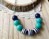 Chunky Beaded Necklace, Striped Gumball Beads, Blue White and Teal Beaded Necklace, Nautical Style, Trend Jewelry, Gifts for Her
