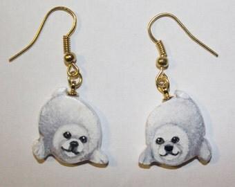 Seal Pup Earrings Original Hand Painted