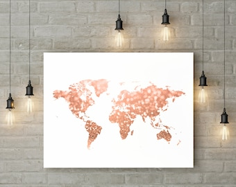Rose gold world map print Pink and gold map art Travel decor Gold home decor Gold map printable Glitter map Digital 30x40 24x36 16x20 8x10