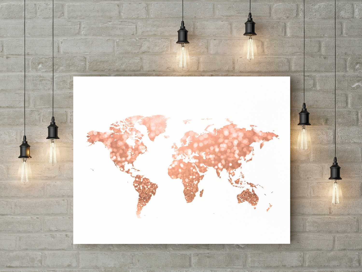 Rose gold world map print pink and gold map art travel decor - Rosegold dekoration ...