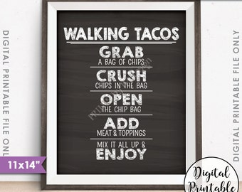 "Walking Tacos Sign, Taco Bar, Fiesta Cinco de Mayo Sweet Sixteen Birthday, 11x14"" Chalkboard Style Instant Download Digital Printable"
