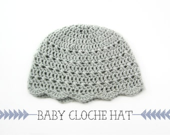 Baby Cloche Hat>>Vintage Scalloped Crochet Hat>>Retro Baby Hat>>Baby Crochet Hat>>BCH001