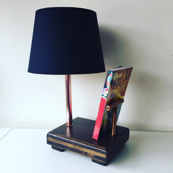 copper and wood bedside reading light table lamp lampshade. Black Bedroom Furniture Sets. Home Design Ideas